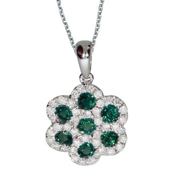 14k White Gold Round Emerald Flower Pendant