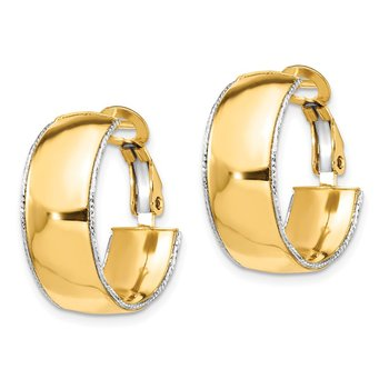 14k YG 7.5mm w/ WG D/C Wire Accent Round Omega Back Hoop Earrings
