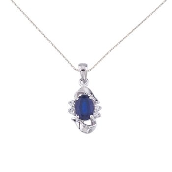 14k White Gold Sapphire And Diamond Pendant