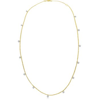 "14K Yellow Gold 1.30 Diamond By The Yard Necklace with 18"" Chain"