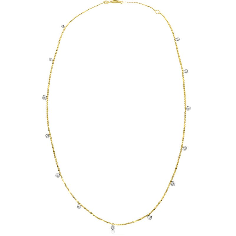 "Color Merchants 14K Yellow Gold 1.30 Diamond By The Yard Necklace with 18"" Chain"