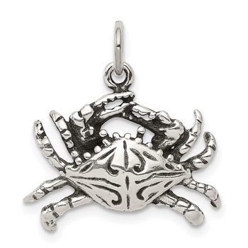 Sterling Silver Antiqued Crab Charm