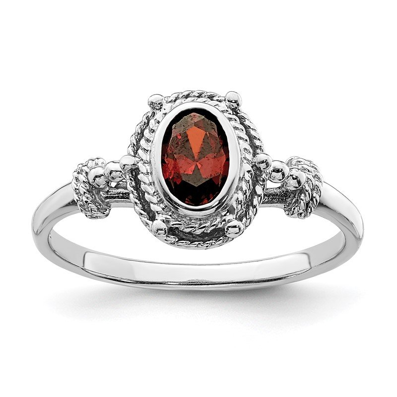 Quality Gold Sterling Silver Rhodium-plated with Red Oval CZ Stone Ring