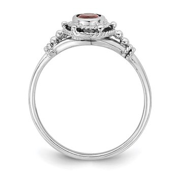 Sterling Silver Rhodium-plated with Red Oval CZ Stone Ring