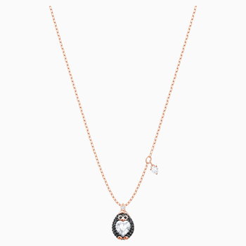 Little Penguin Pendant, Multi-colored, Rose-gold tone plated