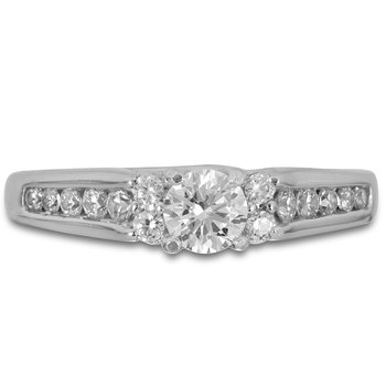 14K WG Diamond Engagement Ring for Mounting of Round Center Dia in Prong Setting and Channel Set Side Diamonds