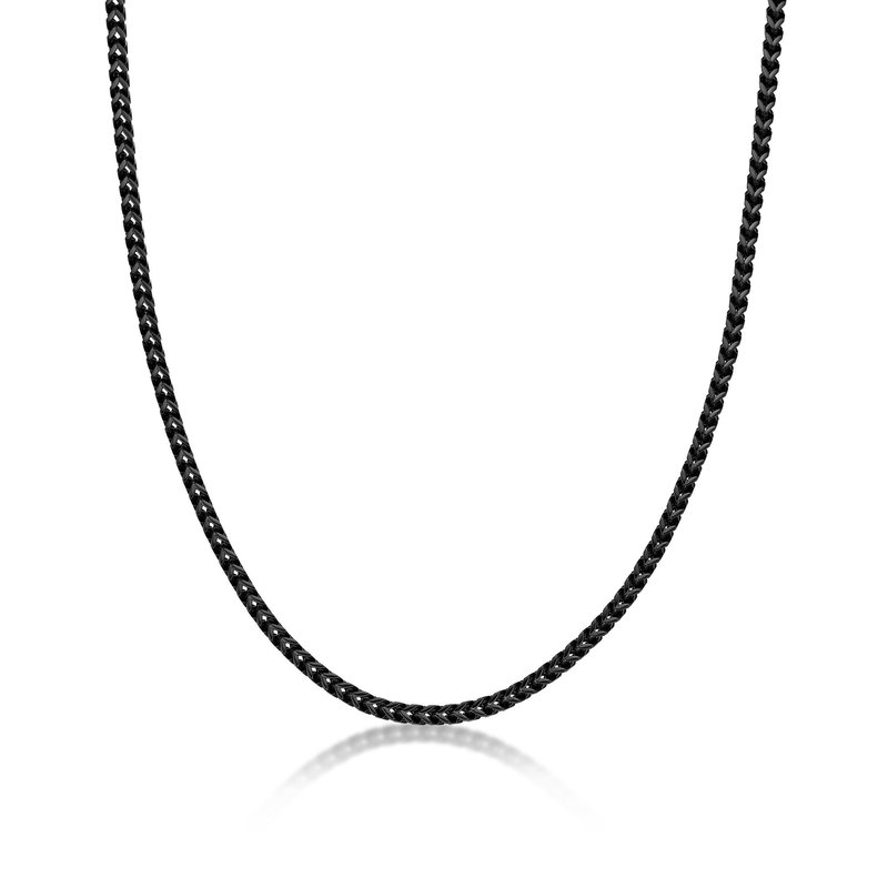 Lynx Stainless Steel Black Ion Plated Thin Foxtail Chain Necklace - 4 MM Wide, 22 Inches Length with Push Lock Lock