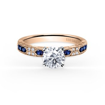 Rose Gold Sapphire Artful Diamond Engagement Ring