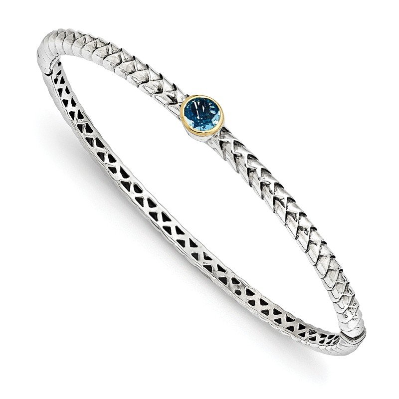 Shey Couture Sterling Silver w/14k Blue Topaz Bangle Bracelet