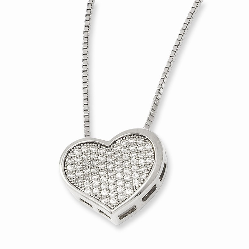Sterling Silver 18in W// Rhodium-plated /& Synthetic CZ Brilliant Embers Polished Cat Necklace