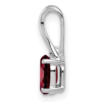 Sterling Silver Rhodium Plated Diamond Garnet Oval Pendant