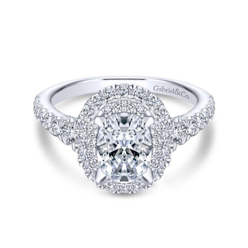 Gabriel Bridal Bestsellers 14K White Gold Oval Diamond Engagement Ring
