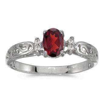 14k White Gold Oval Garnet And Diamond Filagree Ring