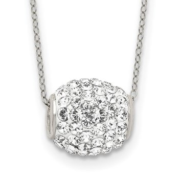 Sterling Silver 10mm White Stellux Crystal Ball Necklace