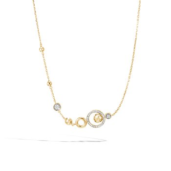Dot Long Necklace in Hammered 18K Gold with Diamonds