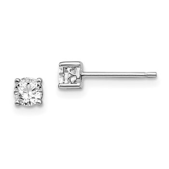 Sterling Silver Rhodium-plated 4mm Round White Topaz Post Earrings