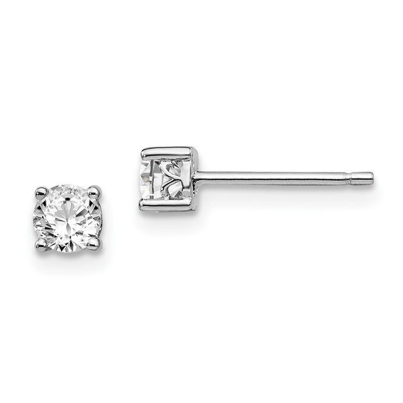 Quality Gold Sterling Silver Rhodium-plated 4mm Round White Topaz Post Earrings