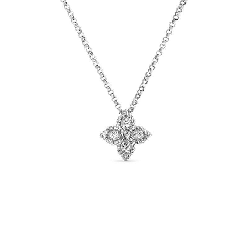 Roberto Coin Small Pendant With Diamonds &Ndash; 18K White Gold