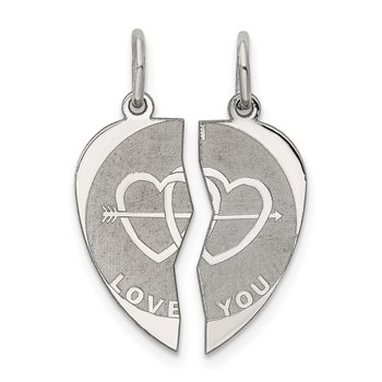 Sterling Silver Rhodium-plated 2-piece I Love You Disc Charm
