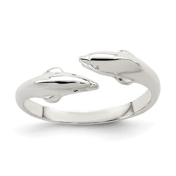 Sterling Silver Polished Dolphin Toe Ring