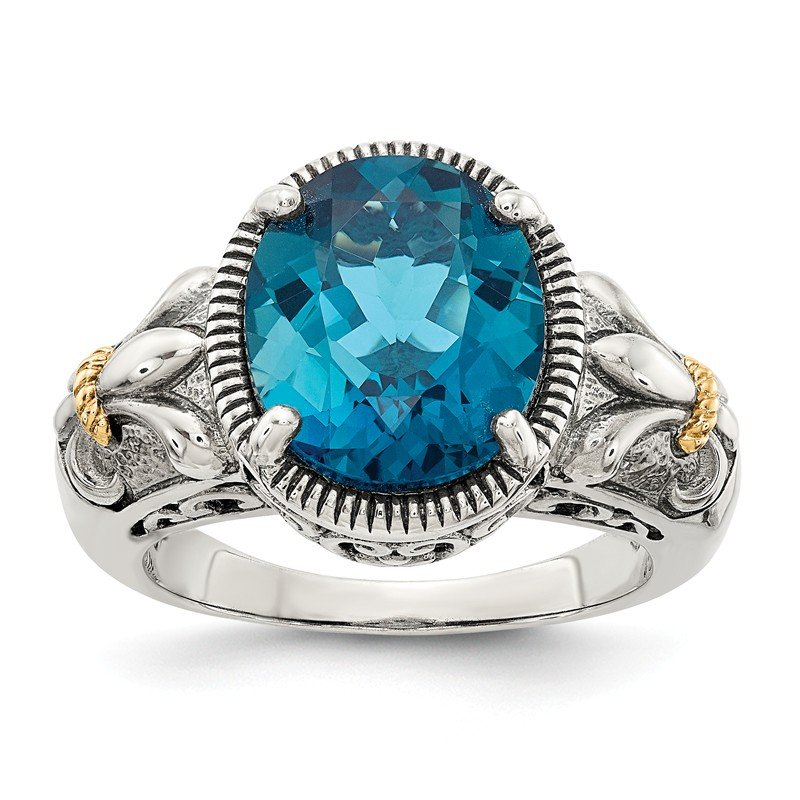 Shey Couture Sterling Silver w/14k London Blue Topaz Ring
