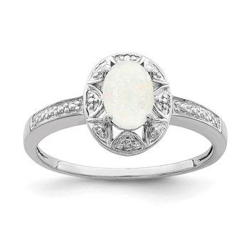 Sterling Silver Rhodium-plated Diam. & Created Opal Ring
