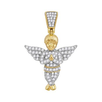 10kt Yellow Gold Mens Round Diamond Guardian Angel Charm Pendant 1/2 Cttw