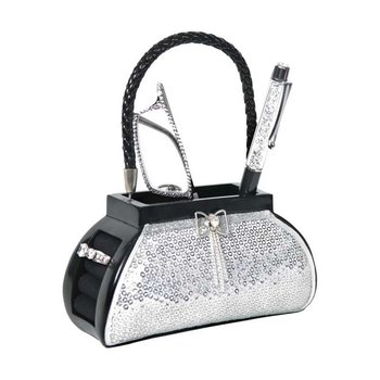 Brush/Phone Holder  Silver Sequin