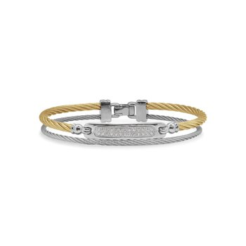 Grey & Yellow Cable ID Bracelet with 18kt White Gold & Diamonds