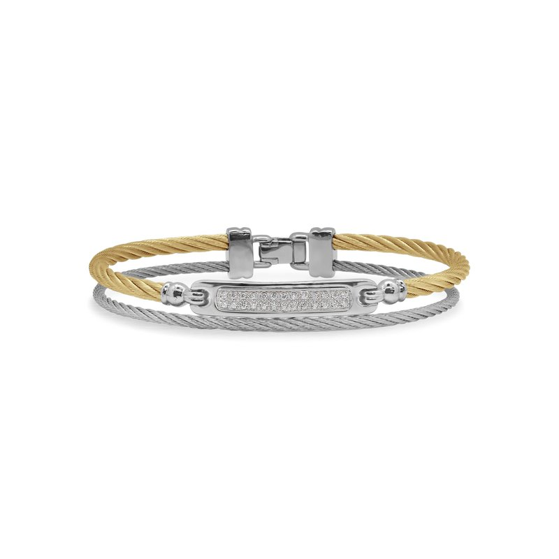 ALOR Grey & Yellow Cable ID Bracelet with 18kt White Gold & Diamonds