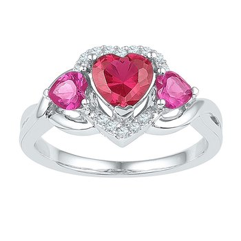 Sterling Silver Womens Heart Lab-Created Ruby Heart Three-stone Ring 1-7/8 Cttw