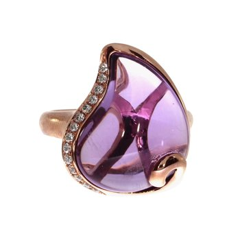 14K Rose Gold Pear Amethyst Ring