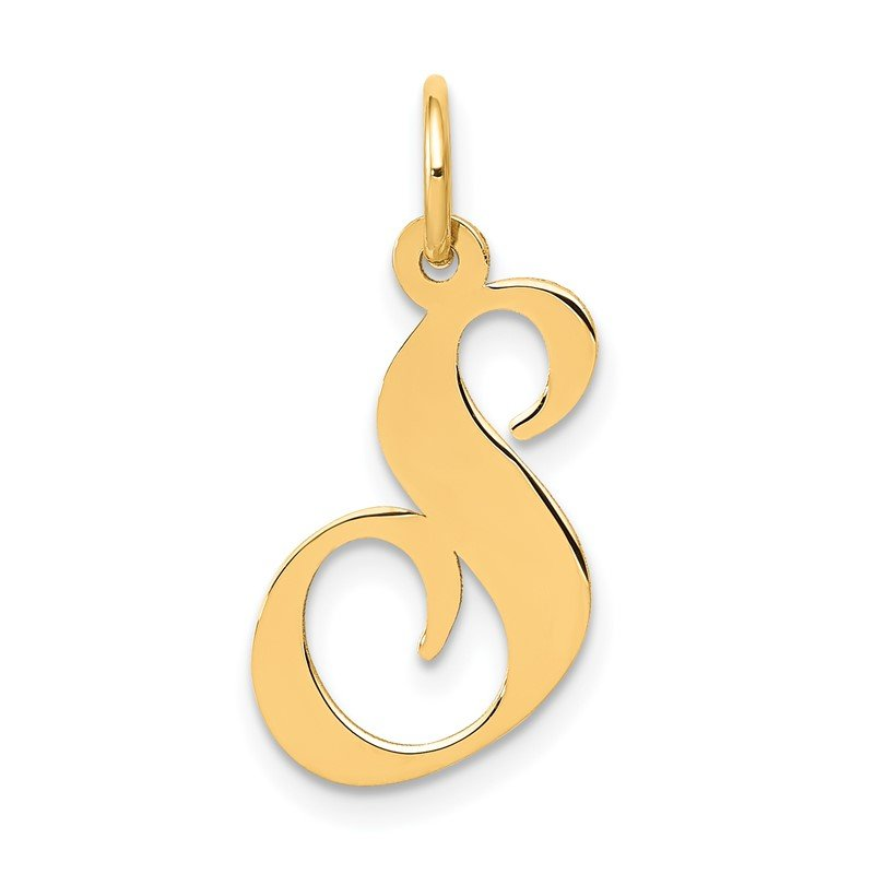 Quality Gold 14K Medium Fancy Script Letter S Initial Charm