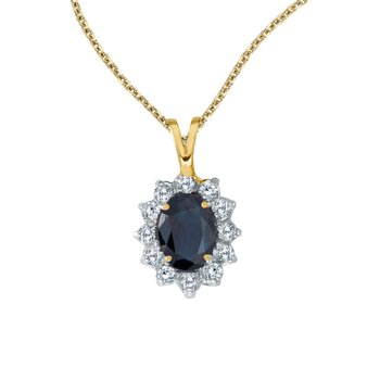 14k Yellow Gold Oval Sapphire Pendant with Diamonds