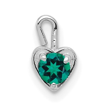 14k White Gold May Synthetic Birthstone Heart Charm
