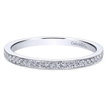 14k White Gold Pave Diamond Stackable Ring