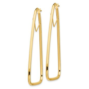 14k 2mm Polished Double Triangle Hoop Earrings