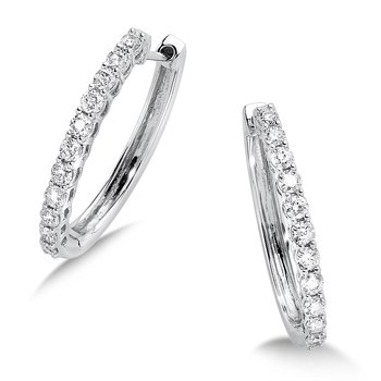 Pave set Diamond Oval Hoops in 14k White Gold (1ct. tw.) GH/SI1-SI2