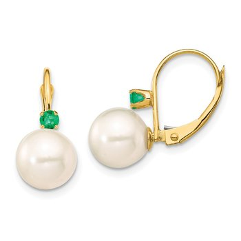 14K 8-8.5mm White Round FWC Pearl Emerald Leverback Earrings