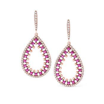 Pink Sapphire & Diamond Teardrop Earrings Set in 14 Kt. Gold