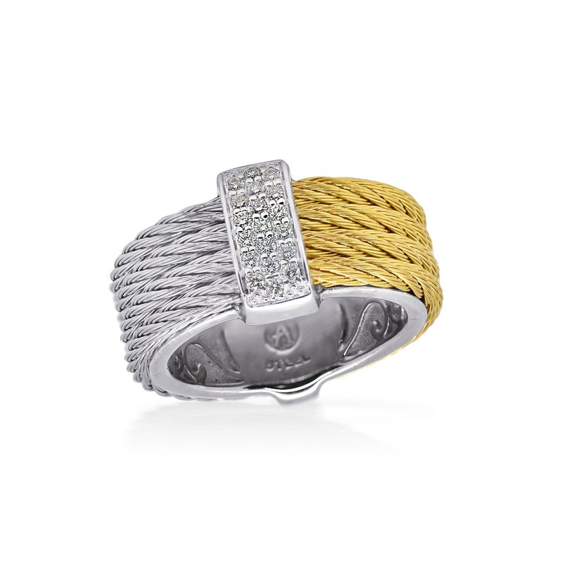 ALOR Catalog Grey & Yellow Cable Petite Colorblock Ring with 18kt White Gold & Diamonds
