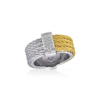 Grey & Yellow Cable Petite Colorblock Ring with 18kt White Gold & Diamonds