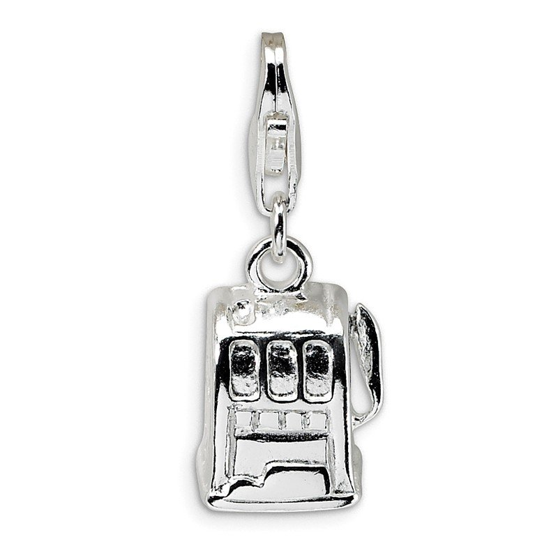 Quality Gold Sterling Silver 3-D Polished Slot Machine w/Lobster Clasp Charm