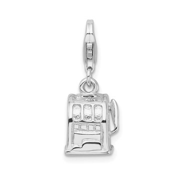 Sterling Silver Amore La Vita Rhodium-pl 3-D Polished Slot Machine Charm