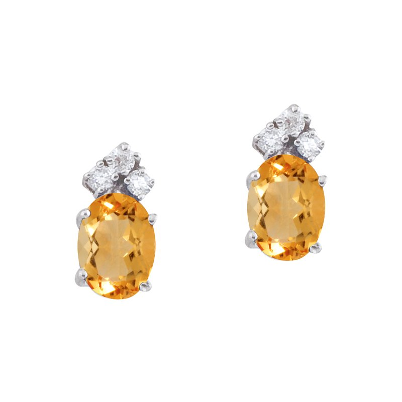 Color Merchants 14k White Gold Citrine and Diamond Oval Earrings