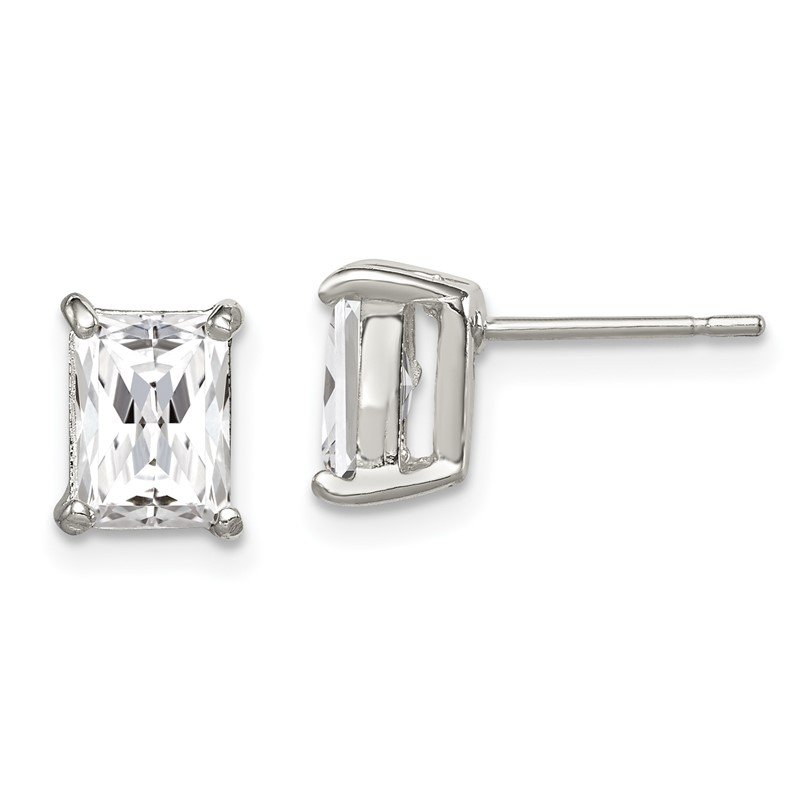 Quality Gold Sterling Silver Emerald-cut 7x5mm CZ Stud Earrings
