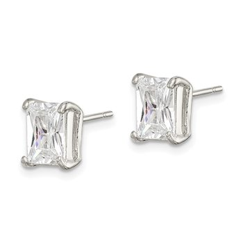 Sterling Silver Emerald-cut 7x5mm CZ Stud Earrings