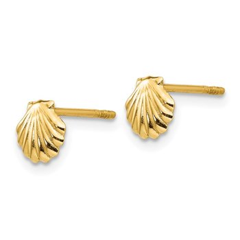 14k Polished Shell Post Earrings