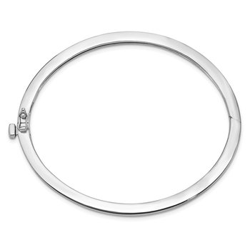 14k White Gold 2.5mm Polished Solid Hinged Bangle