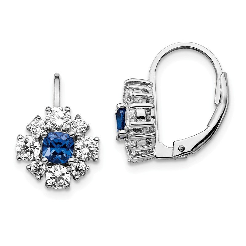 Cheryl M Cheryl M SS Rhodium-plated CZ & Created Blue Spinel Leverback Earrings